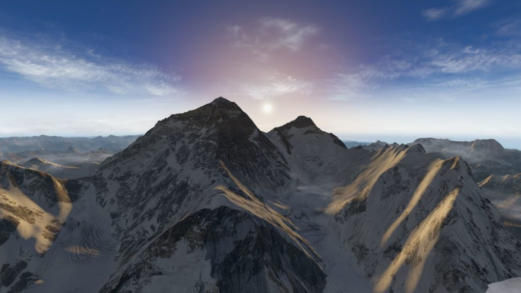 Everest Park 3D: Mount Everest (links) und Lhotse